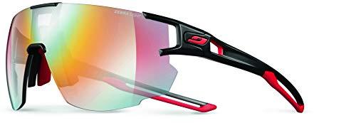 Julbo Aerospeed Performance Sunglasses, Black/Red Frame - REACTIV Performance 1-3 Yellow/Brown Lens w/Multilayer Red Mirror