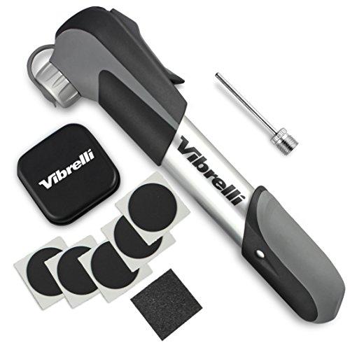 Vibrelli Mini Bike Pump & Glueless Puncture Repair Kit - Fits Presta & Schrader - 120 PSI - No Valve Changing Needed.