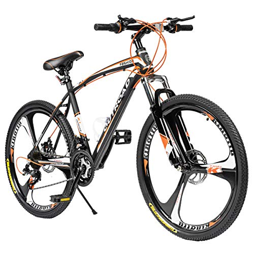 Max4out Mountain Bike 21 Speed with High Carbon Steel Frame, 26 inch Wheels, Double Disc Brake, Front Suspension Anti-Slip Bikes, Orange