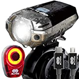 BLITZU Gator 390 USB Rechargeable LED Bike Light Set, Bicycle Headlight Front & Free Rear Back Tail Light. Waterproof, Easy to Install for Kids Men Women Road Cycling Safety Commuter Flashlight Black
