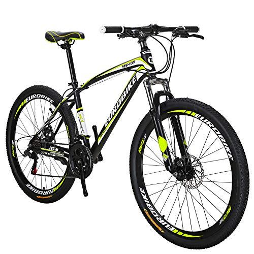 Eurobik OBK 27.5 Wheels Mountain Bike Daul Disc Brakes 21 Speed Mens Bicycle Front Suspension MTB (Yellow Aluniminium Rims)